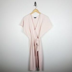 Topshop Womens Dress SZ 2 Pale Pink Wrap Tie Waist